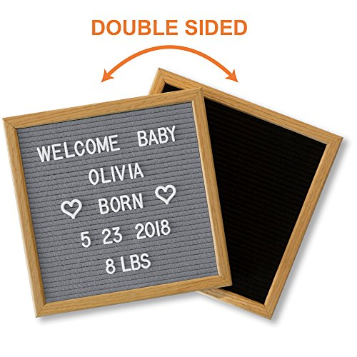 Felt Letter Board Gray Black with 600 Changeable Letters & Stylish Stand. 10x10 American Oak Wood Message Board. Pregnancy Announcement Sign, Boy Girl Gender Birth Reveal Idea, Baby Shower Gift! - Announcement Sign