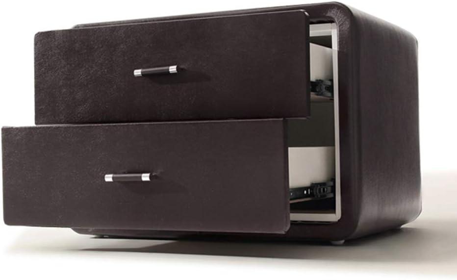 Minmin 現代の環境引き出し収納キャビネットパールレザーベッドサイドテーブルシンプルなファッションストレージ小さなベッドサイドキャビネットベッドサイドの家具装飾真珠の革のラウンドコーナー絶妙なハンドル テーブルランナー