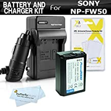 Replacement NP-FW50 Battery And Charger Kit For Sony Alpha a7, a7R, A55, A33, SLT A55, SLT A33, NEX-3, NEX-5, NEX-5N, NEX-C3, NEX-7, NEX-5TL, Sony Alpha a6000, a6300, a5000, a3000 DSLR, QX1 Digital Camera