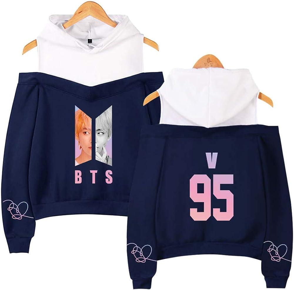 BTS V /à Capuche Bangtan Sweats /à Capuche Sweats Tops Pulls Kpop Fans Femme Jumper Sweatshirt Manche Longue /Épaules D/énud/ées Top
