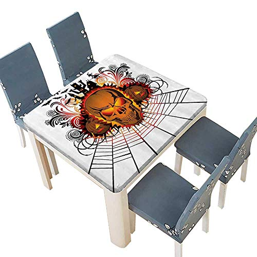 PINAFORE Table in Washable Polyeste Kull ce Bfire Effect Spirits of Other World Ccept Bats and Spider Web Halloween Banquet Wedding Party Restaurant Tablecloth 29.5 x 29.5 INCH (Elastic Edge)