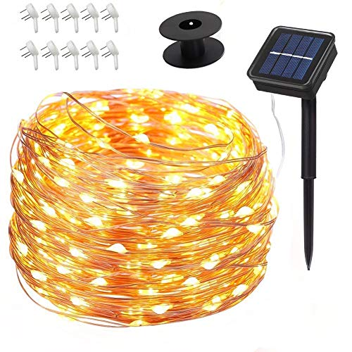 Povida Solar String Lights 75 ft 200 LED Copper Wire Lights 8 Modes Starry Lights, Indoor & Outdoor Decorations, Perfect String Lights for Wedding, Party, Christmas, Free Reel & Nail Hook (Warm White)