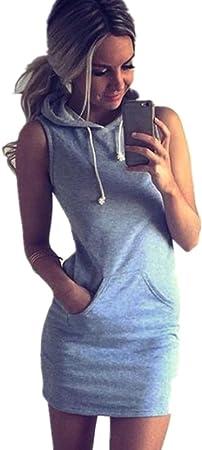 Culater® Moda Verano de Las Mujeres sin Mangas del Vestido Ocasional con Capucha (S, Gris)