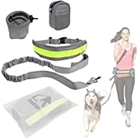 Hands Free Dog Leash Cadrim Pet Dog Leash Elastic Dog Leash with Dual Bungees for Running Walking Hiking Retractable Waistband Reflective Stitching Grey(2 Cute Bags 2 Hook Latches Included)