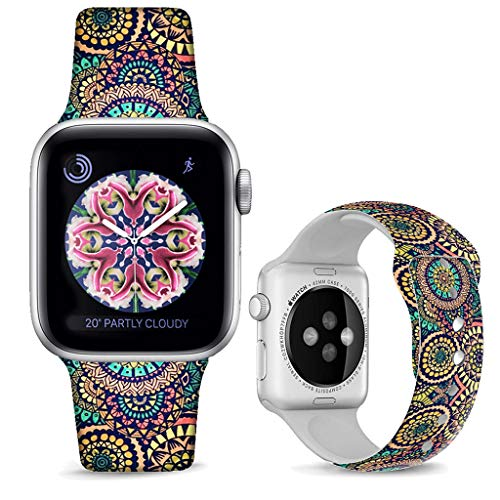 Wave Silicone (DOO UC Floral Bands Compatible with iWatch 38mm/40mm,Wave Pattern Silicone Fadeless Pattern Printed Replacement Bands for A pple Watch Series 4/3/2/1, M/L for Women/Men)