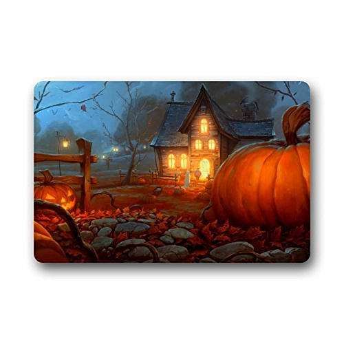 Hi,Doormat Custom Halloween Indoor/Outdoor Doormat Rugs Floor Mat Top Fabric & Non-Slip Rubber Backing Entryways Carpet 23.6 X 15.7 (Custom Halloween Doormats)