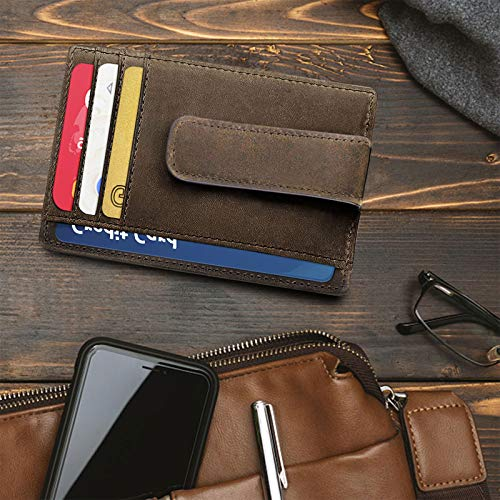 Men's Wallets with Money Clip, Slim Minimalist Genuine Leather Wallets for Men, RFID Blocking Front Pocket Wallet and Card Holder with ID Window