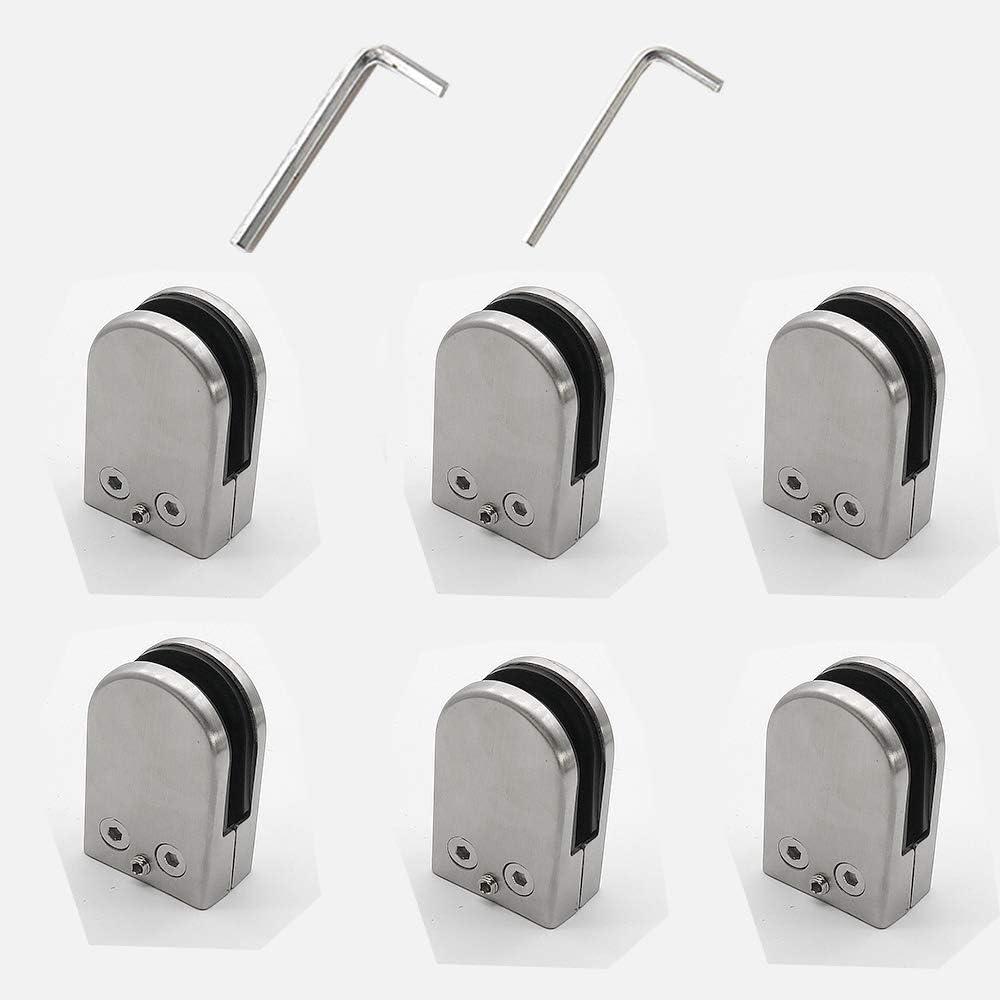 Kamtop Pince /à Verre 8 PCS 6-8mm Porte-Verre En Acier Inoxydable 304 Pinces /À Verre R/églable En Verre pour Balustrade Escalier Main courante