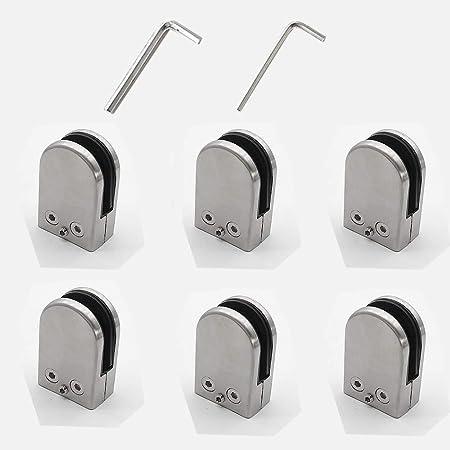 Kamtop Pince /à Verre 8 PCS 8-10mm Porte-Verre En Acier Inoxydable 304 Pinces /À Verre R/églable En Verre pour Balustrade Escalier Main courante