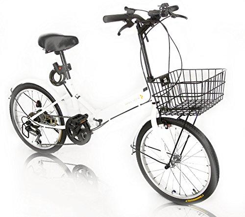 [해외] AIJYU CYCLE [선택할 수 있는 10색!]접이식 자전거 20인치 시마노사제6 단변속 기어 (AJ-08) 전바구니/LED프론트 라이트・와이어정 서비스!/전후 (자동차 등의) 흙받이/접는 자전거/손에 쥐는름차/PL보험