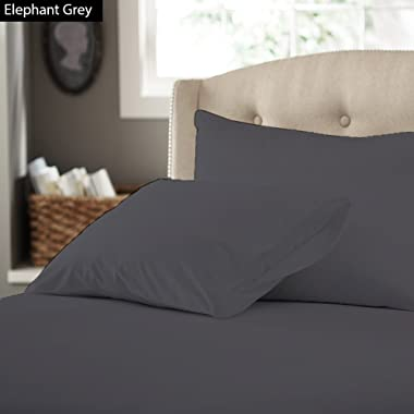 500 TC - Four ( 4PCs ) 1 Fitted, 1 Flat & 2 Pillow's in Cal King Size 100% Egyptian Cotton Sheet Set- Perfect Pocket ( 14  Deep ) BY Galaxy's Linen Solid Recommened Sheet Colors ( Elephant Grey )