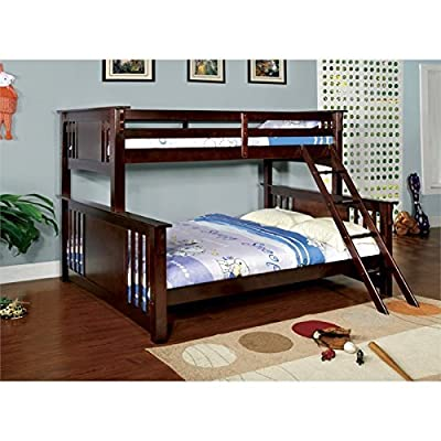 Furniture of America Spring Twin Over Queen Bunk Bed - Dark Walnut