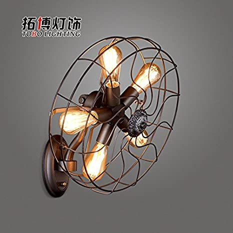 Moderna Lámpara De Pared Lámpara De Pared Retro Lámpara De Pared Retro Ventilador De Pared Lámpara De Pared Personalidad Del País Creativo Ventilador De Energía Eólica Industrial Sin Fuente De Luz