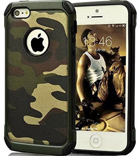 (FDTCYDS iPhone 5 case iPhone SE case,Armor Hybrid Rugged Camouflage Case for Apple iPhone 5 / 5S SE - Camo Green)