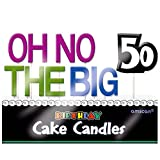 The Party Continuous 50th Birthday Party ''Oh No The Big 50'' Molded Toothpick Candle Decoration, Pack of 11, Multi , 3'' Wax