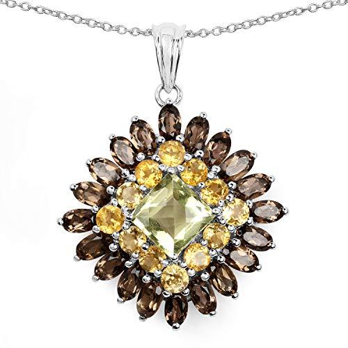 Bonyak Jewelry Genuine Square Lemon Quartz, Citrine and Smoky Quartz Pendant in Sterling Silver