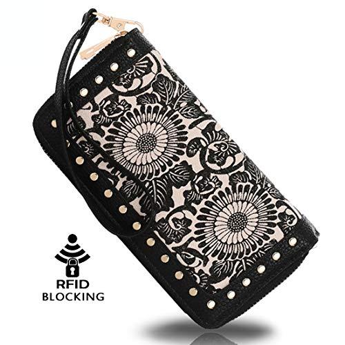 K A Women's RFID Blocking Zip Around Wallet Clutch Large Capacity Travel Purse Chevron Zigzag Bag (Black-2)