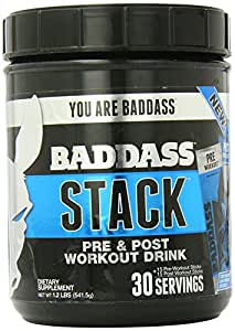 Baddass Nutrition Stack Pre and Post Workout Drink, 30 Count (Pack of 3)
