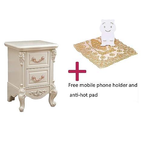 Muebles de madera Mesita de noche blanca Gabinete con 2 ...
