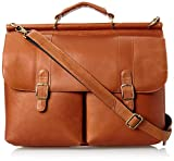 David King Leather Dowel Laptop Briefcase in Tan