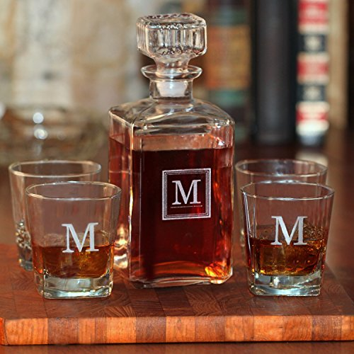 Glass Whiskey / Spirit Decanter and 4 Rock Glasses Set - Free Personalization