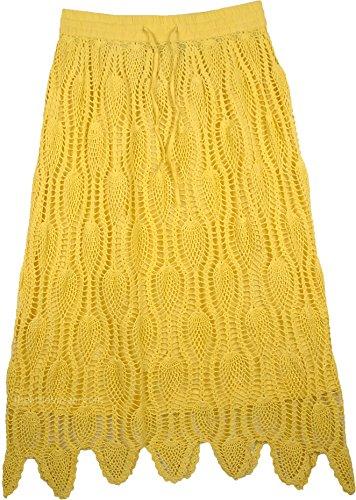 TLB Long Tulip Yellow Crochet Skirt - L:36