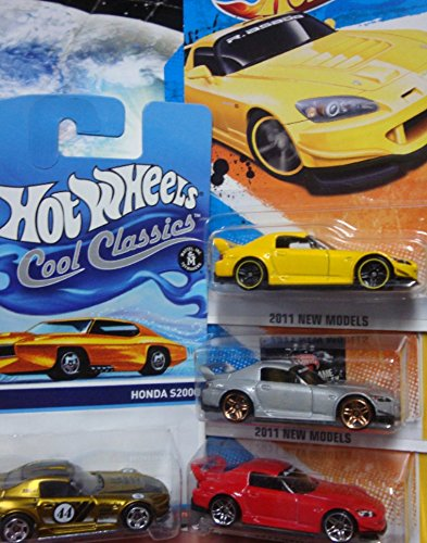 Hot Wheels Detailed Diecast Honda S2000 Set: Cool Ones Real Riders Series #23/30, Red Pr5, Silver Black Interior Pr5 Including The Yellow Black Wheel {4 Pieces} 1/64 Scale Collection. (S2000 Honda Diecast)