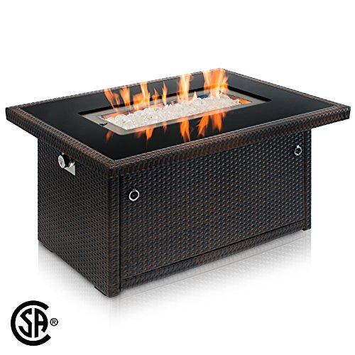 Outland Fire Table, Aluminum Frame Propane Fire Pit Table w/Black Tempered Glass Tabletop Resin Wicker Panels & Arctic Ice Glass Rocks, Model 401 35,000 BTU Auto-ignition (Espresso Brown) Tabletop Outdoor Furniture