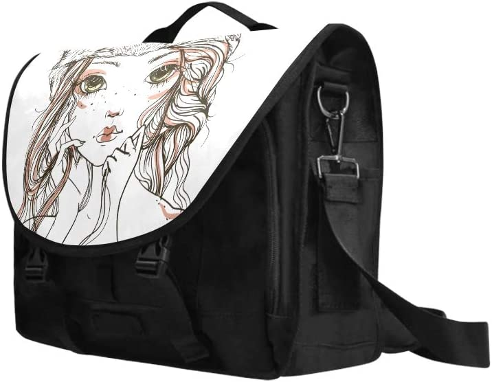 Crossbody Shoulder Bag American A Girl with Wolf Headdress Multi-Functional Carryon Laptop Bag Fit for 15 Inch Computer Notebook MacBook