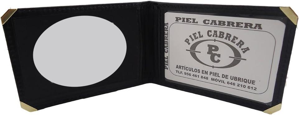 Carteras Porta Placa de Seguridad Privada con monedero placa dorada,Piel Cabrera