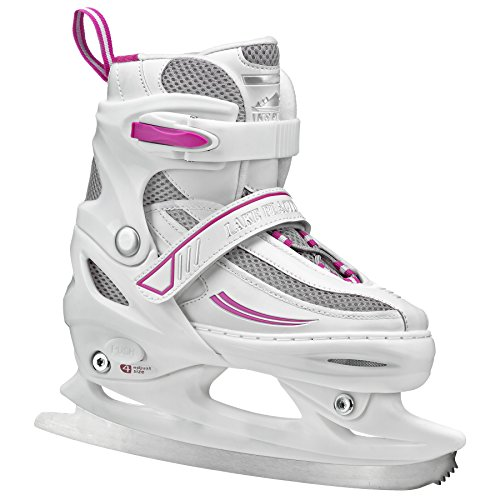 Lake Placid Summit Girls Adjustable Ice Skate, White/Purple, Medium/1-4 (Ice Girls White Skates)