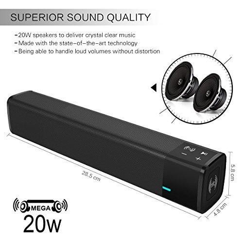 ELEGIANT Altavoces Bluetooth Barra de Sonido Bluetooth 4.1 Altavoz Inalámbrico 20W Estéreo con Potente Subgrave duración Larga con Tarjeta TF Función NFC ...