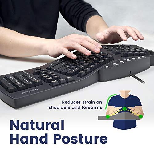 Perixx PERIBOARD-512 Ergonomic Split Keyboard - Natural Ergonomic Design - Black - Bulky Size 19.09x9.29x1.73