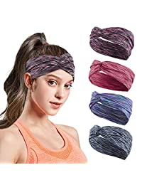 Headbands for Women Hair Outdoor Sport Workout Striped Turban Yoga Bands Sweat Wicking Scarf Bandana Wrap Fitness Fashion Non Slip Elastic Knotted Vintage Hippie Bow Soft Athletic Wide Headband