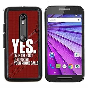 LECELL--Funda protectora / Cubierta / Piel For Motorola MOTO G3 3rd Gen -- Ignorar Heartbreak rojo enojado texto --