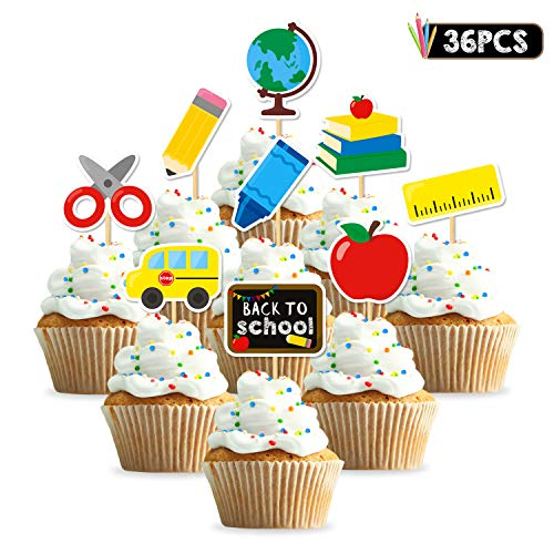 36pcs Back to School Cupcake Topper First Day of School Welcome Party Decoration School Activities Teacher Gift Classroom -