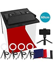 Neewer Photo Studio Box, 16x16inches Table Top Photo Light Box Continous Lighting Kit with 3 Tripod Stands, 2 LED Ring Lights, 4 Color Backdrops and a Phone Holder for Product Jewelry Food Photography