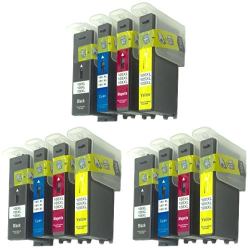 Generic 12 Pack Compatible Ink Cartridge Replacement for Lexmark 100XL BK 100XL C (3 piece large Black 3 piece Cyan 3 piece Magenta 3 piece Yellow)