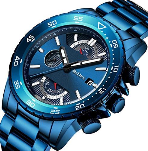 Watch Men's Watch Fashion Casual Classic Chronograph Waterproof Calendar Date Analog Quartz Stainless Steel Wrist Watch for Men (Blue) Blue Stainless Steel Watch