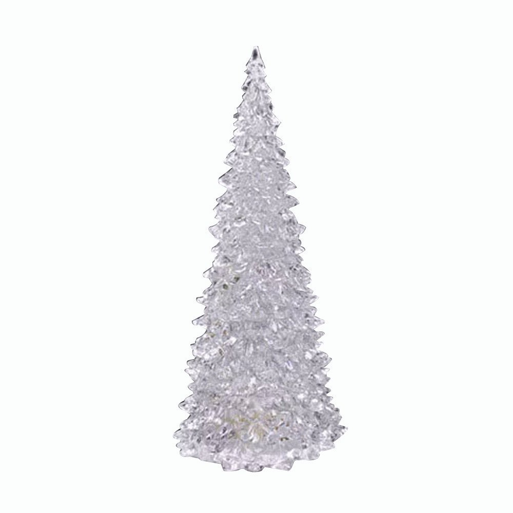 Christmas Tree LED - Acylic Xmas Trees with Painted Colorful Ornaments - Coloring Changing Light Lamp Home Party Decoration Wedding (A)