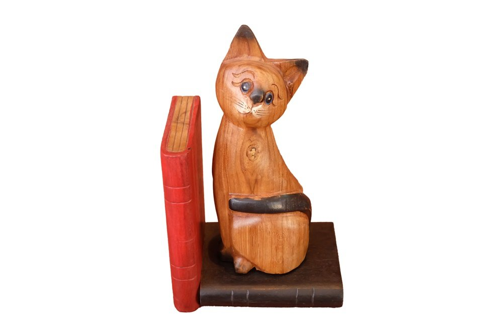 Design by UnseenThailand Animal Wooden Bookend Handcrafted In Shape (Wooden Thai Cat, 3.5''x5.5''x9'') by UnseenThailand Warehouse