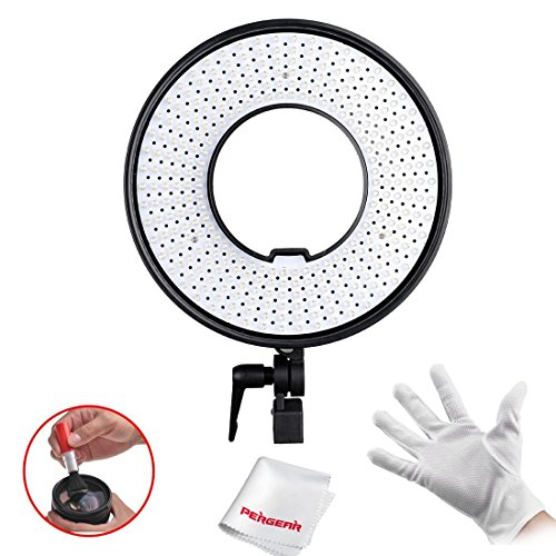 FalconEyes® DVR-300 Dual Color 300 LED Ring Light 3000K-7000K Adjustable Photography Led Video Ring Light with Camera Bracket & Pegear In-Ear Headphone by FalconEyes