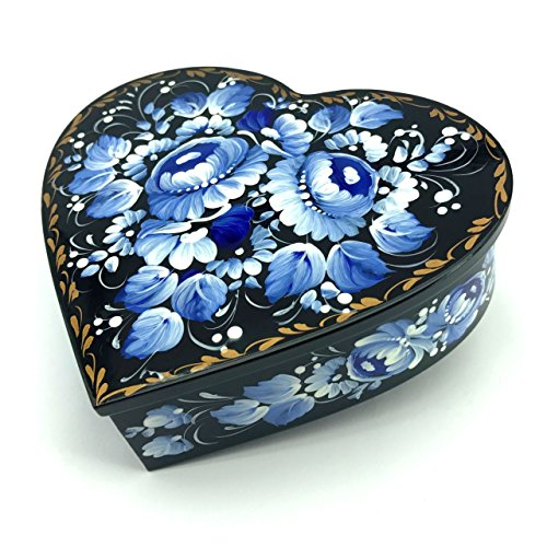 Ethnic Floral Heart-Shaped Wooden Jewelry Lacquer Box Hand-Painted in Ukraine Case for Earrings, Necklace, Rings (Blue and - Fancy Dia Necklace