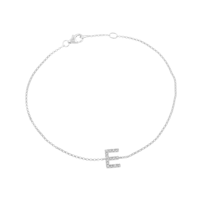 14k White Gold Diamond Studded Letter ''E'' Initial Bracelet, 7.5''