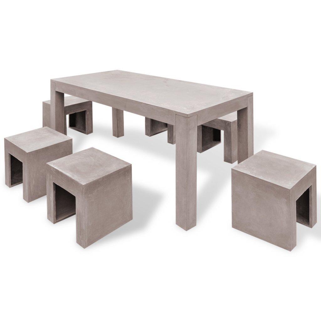 vidaXL 7-tlg. Beton Gartenmöbel Set Sitzgruppe Essgruppe ...
