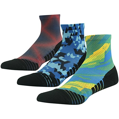 - HUSO Outdoor Hiking Socks Fun Moisture Wicking Running Quarter Length Athletic Socks for Men Women,3 Pairs (Multicolor,L/XL)