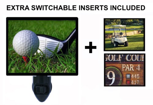 Night Light w/ Switchable Inserts - Golf / Golfing - LED NIGHT - Themed Set Light Golf