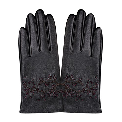 GSG Womens Embroidery Touchscreen Gloves Vivid Cherry Blossom Winter Driving Gloves Texting Italian Genuine Leather Black 8 by GSG (Image #3)