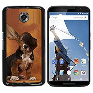 Qstar Arte & diseño plástico duro Fundas Cover Cubre Hard Case Cover para Motorola NEXUS 6 / X / Moto X Pro ( Dog Long Ears Basset Hound Brown Puppy)