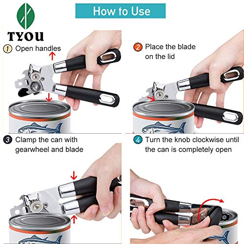 Can Opener Manual Stainless Steel Tin Opener Comfortable Grip Oversized Easy Turn Knob Smooth Edges Built in Bottle Opener
